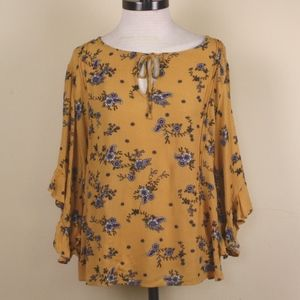 LC Lauren Conrad Yellow Floral 3/4 Sleeve Blouse